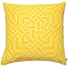 Nina Kullberg - Istanbul Yolk Yellow Cushion (£73) ❤ liked on Polyvore featuring home, home decor, throw pillows, patterned throw pillows, handmade home decor, yellow throw pillows, yellow toss pillows and yellow home accessories