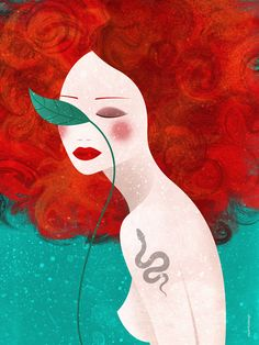 #illustration #red_hair #digital_art #piperitadesign Hair Illustration, Digital Illustration, Body Art, Stencils, Digital Art, My Arts, Tumblr, Graphic Design, Make It Yourself