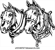Horse Line Drawings Clip Art | illustration, lineart, animal, horse, horses, draft