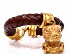 Barry Kieselstein-Cord 18K Gold Dog Head Leather Bracelet