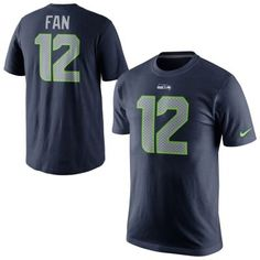 Men's Seattle Seahawks 12th Fan Nike College Navy Player Name & Number T-Shirt