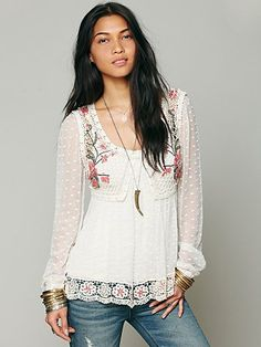 Free People Embroidered Open Stitch Top