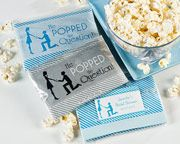 """He Popped the Question!"" Microwave Popcorn Favor (Blue or Silver, Personalization Available) This would be an awesome bridal shower/engagement party favor! Popcorn Wedding Favors, Popcorn Favors, My Wedding Favors, Wedding Ideas, Wedding Stuff, Popcorn Bags, Wedding Things, Party Favours, Wedding 2015"