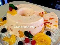 Gelatina cremosa de durazno decorada con rosa.- Hecha con 4 tantos de la receta.-RecetasdeLuzMa - YouTube