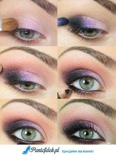 Piekny, fioletowy makijaż