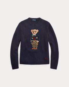 Preppy Polo Bear Sweater Ralph Lauren Long Sleeve Tshirt Men Duffel Coat