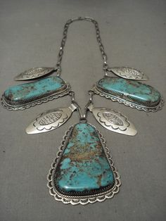 THE FINEST & BEST VINTAGE NAVAJO KEE JOE BENALLY (D.) TURQUOISE SILVER NECKLACE