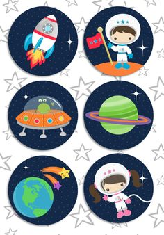 Space Rocket party pdf printable outer space by GlitterInkDesigns