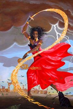 """""""Confide in me because I am your warrior Orisha, and I will fight for you in the name of Justice. And with my army of egguns, I will be there to defend you. If I strike with flashes of lightning and. African Mythology, African Goddess, Oya Orisha, Oya Goddess, Venezuelan Women, Orishas Yoruba, Afro, Yoruba Religion, Native American Artwork"""