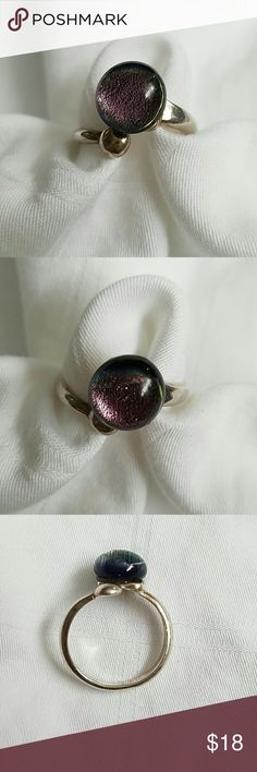 Beautiful Dichroic Glass ring In purple and greenish gold hues.  Beautiful ring in sterling silver.  No flaws Jewelry Rings