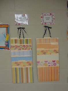 Hanging File Folders: Cover folders with scrapbook paper, staple the folders 6 inches a part, laminate, and then slit the openings with scissors. Could use this for turning in homework.