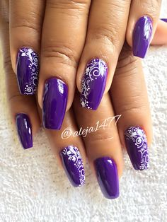 Acrylic Nails Coffin Glitter, Purple Acrylic Nails, Purple Nail Art, Purple Nail Designs, Colorful Nail Designs, Best Acrylic Nails, Acrylic Nail Designs, Pink Nails, Nail Art Designs