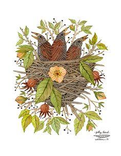 Pichones en rosa zarza imprimir, nido de pájaros, arte de pájaros, pajaritos, giclee imprime, arte infantil, para niños, Ilustración