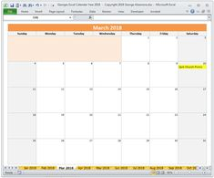 monthly calendar spreadsheet