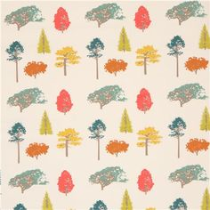 light cream colorful tree organic fabric by birch from the USA 2