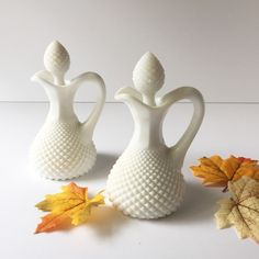 Vintage English Hobnail Cruet Set by Westmoreland, Depression Era Milk... ($26) ❤ liked on Polyvore featuring home, kitchen & dining and serveware