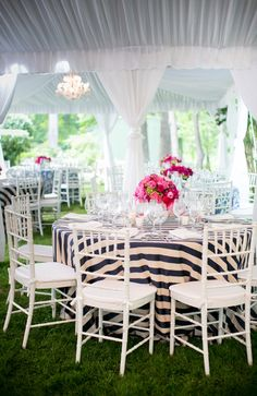love these navy + white striped linens!