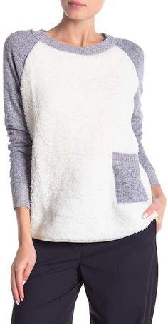 df782e5c13603e Poof Faux Shearling Ralgan Sleeve Sweater Nordstrom Rack