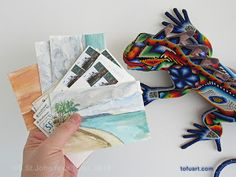 When visiting Mexico, before heading out to find a mail box, it is important to ask the Magic Iguana to make sure your handmade postcards arrive — eventually.