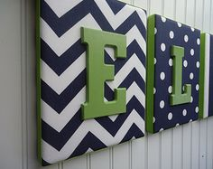Nursery Letters, Nursery Decor, Upholstered Letters, Personalized, Nursery Art, Navy and White Fabrics, Green Letters,
