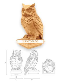 Owl - High Quality Hand-carved Top for Newel Stair Carved Wood Oak Corbels Decor Front Pillar Cottag