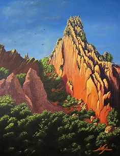 Garden of the Gods by Curt Ives Oil ~ 40 x 30 Garden of the Gods is just northwest of Colorado Springs. It's has large, thin rocks, shooting out of the earth towards the blue sky. A must see if you're in the area.