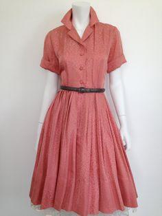 50s rose silk jacquard Lucy day dress / 36 bust by CultOfChiffon, $225.00