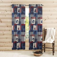 "Aubrie Home Americana 84"" Window Curtains 2-Panel Pair Set Drapes Rustic Cabin Bear Deer - GreyDock.com"