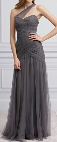 Grey tulle gown