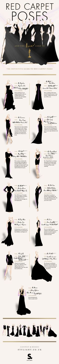 Red Carpet Poses #infographic #RedCarpet #Lifestyle #Fashion #Oscar #Modeling #infografía