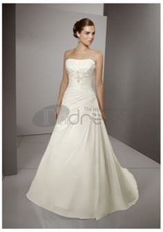Straight neckline gorgeous a-line wedding dresses