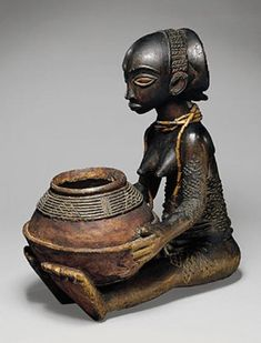 Female Bowl Bearer (Mboko) Luba, Democratic Republic of the Congo Wood, beads; H. 36.8 cm (14 1/2 in.) 19th century American Museum of Natural History, New York
