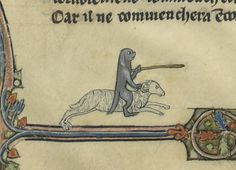 'Tristan de Léonois'. Arras ca. 1285-1290.  Just a dog on a ram's back, holding a sword, heading off to joust an unknown assailant, probably the Mountain That Rides, terrified. Look at the way he's holding that sword. Somebody certainly never taught this dog to joust. This will not end well. I hope milady is happy.
