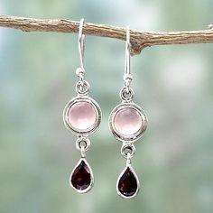 Garnet and chalcedony dangle earrings, 'Crimson Droplets' - Garnet and Chalcedony Dangle Earrings from India