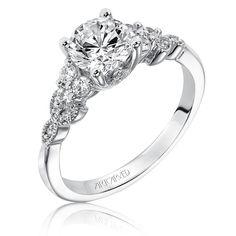 Adeline. ArtCarved Diamond Engagement Ring Setting in 14k White Gold