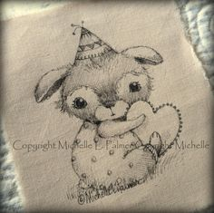 Birthday Baby Teddy Bear Heart Original Pen Ink Fabric Illustration Quilt Label by Michelle Palmer February 2014