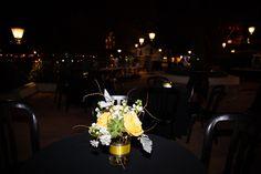 Yellow rose and succulent wedding centerpieces at a Disney Epcot dessert party at Terrace des Fleurs