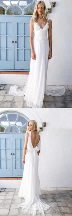 2018 Boho V-neck A-Line White Cheap Lace Chiffon Backless Sash Summer Beach Wedding Dresses,#weddingdressuk,#white,#chiffon,#beach,#boho,#cheap,#simple