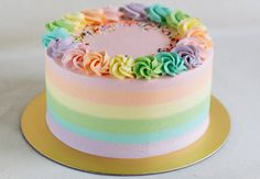 A rainbow cake is fun to look at and eat and a lot easier to make than you might think. Here's a step-by-step guide for how to make a rainbow birthday cake. Pastel Cakes, Colorful Cakes, Food Cakes, Pretty Cakes, Cute Cakes, Sweet Cakes, Mini Cakes, Cupcake Cakes, Macaron Cake
