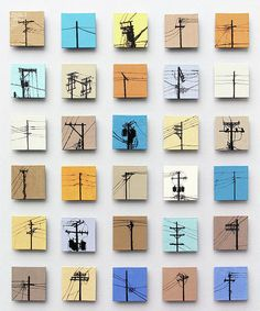 Urban Sentinels - giclee print of installation of hand-painted ceramic tile mural of Chicago Telephone Poles, available on paper or canvas in choice of dimensions