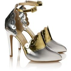 Aperlai Metallic Leather Scalloped Heels