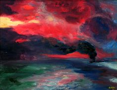 """Emil Nolde (1867-1956) was a German painter and printmaker. He was one of the first Expressionists. """"Evening sea at autumn"""""""