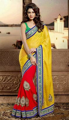 USD 87.37 Yellow and Red Bead Work Party Wear Saree 30424