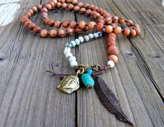 Rosewood Amazonite Beaded Amulet Yoga jewelry by DeetabyDesign #JetJOD