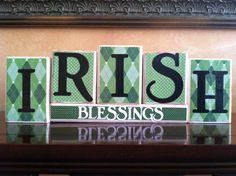 St Patricks Day home decor - Wood Irish Blessings blocks - seasonal home decor. $24.00, via Etsy.