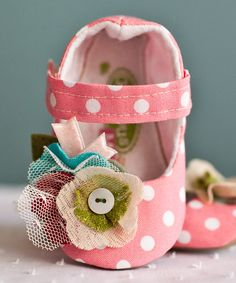 Look at this Gracious May Pink & White Polka Dot Flower Mary Jane on #zulily today!