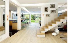 Projekt domu Otwarty 4 171,54 m2 - koszt budowy 247 tys. zł - EXTRADOM Modern House Design, Architecture Design, House Plans, Stairs, Home Decor, House Ideas, Drawing, Arquitetura, Architectural Plants