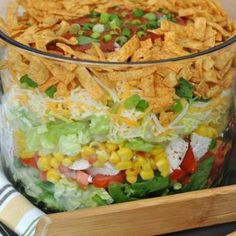 Layered Chicken Taco Salad  -  veggies, potentially healthy, adjust, lower carbs and sodium, mexican theme, spicy?.    lj