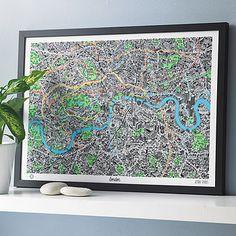 Hand drawn map of London - would like something similar of Montana!