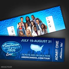 I'm going to this! Admit One, Season 12, Get Tickets, American Idol, Soundtrack, Bae, Fox Tv, Tours, My Favorite Things
